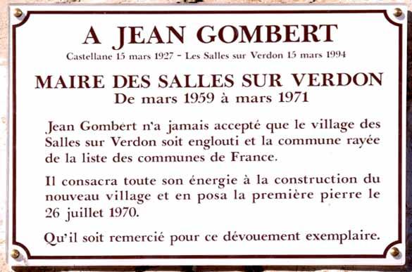 La plaque commémorative qui rend hommage à Jean Gombert