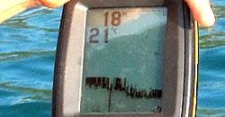 Détail de l'écran du sonar...