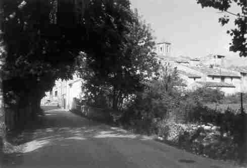 Les Salles, the entry of the village from Bauduen, july 1973