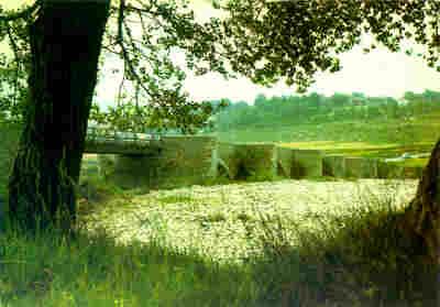 Le pont d'Aiguines vu du camping (rive droite)