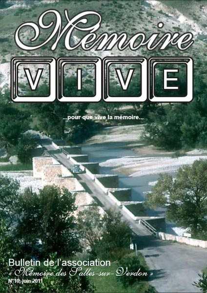 Association 'Mémoire des Salles-sur-Verdon': page de couverture du bulletin 'Mémoire Vive' no 10