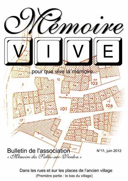 Association 'Mémoire des Salles-sur-Verdon': page de couverture du bulletin 'Mémoire Vive' no 11