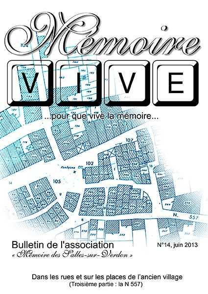 Association 'Mémoire des Salles-sur-Verdon': page de couverture du bulletin 'Mémoire Vive' no 14