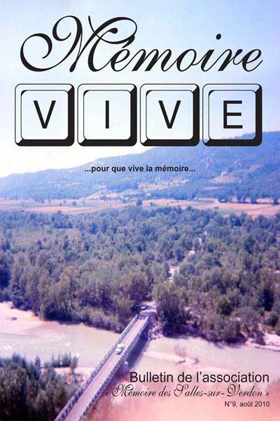Association 'Mémoire des Salles-sur-Verdon': page de couverture du bulletin 'Mémoire Vive' no 9
