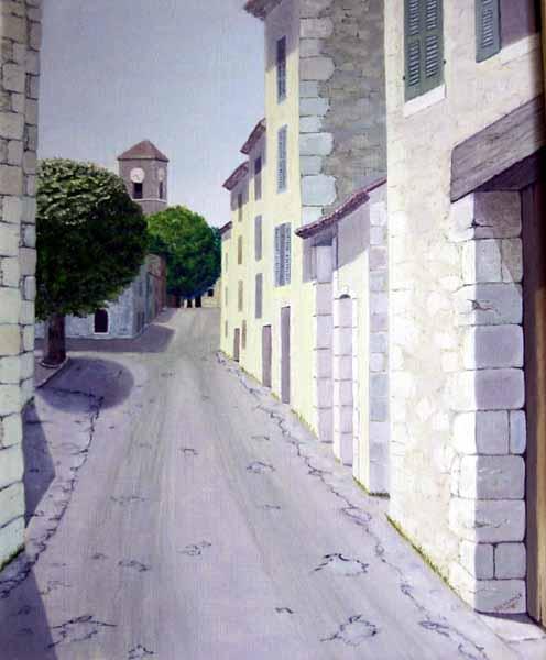 Les Salles-sur-Verdon, la rue venant d'Aiguines