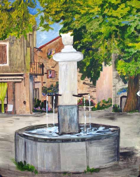 Les Salles-sur-Verdon, la fontaine de la place